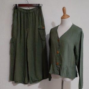 Flax Linen Set Cargo Culottes & Jacket NWT, Small